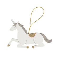 Wooden Seated Magical Princess Unicorn Hanging Decoration