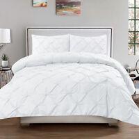 Luxury 3 Piece Pinch Pleat Pintuck Duvet Cover & Pillow Sham Set White Queen
