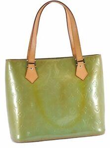 Authentic Louis Vuitton Vernis Houston Shoulder Bag Light Green LV D3891