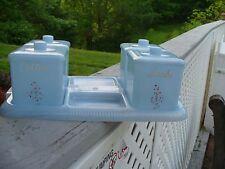 Vintage Plastic Blue Baby Nursery Vanity Jar Set Clarolyte Flowers
