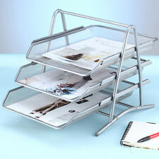 Office Metal Mesh Desk Document File Paper letter Trays Organiser Holder Silver