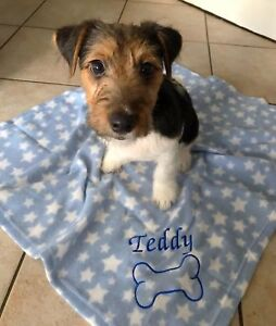 PERSONALISED DOG/PUPPY FLEECE FIRST BLANKET FOR BED NAME EMBROIDERED