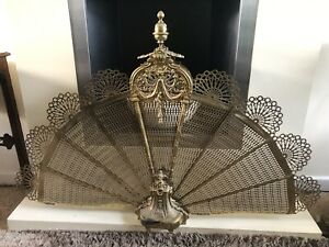 Vintage Victorian Polished Brass Peacock Folding Fire Screen Guard