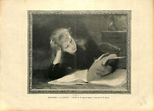 LA LISEUSE Armand Berton GRAVURE OLD ANTIQUE PRINT 1896