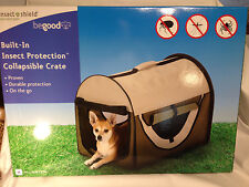 Portable Collapsible Travel Pet Kennel Carrier Soft Side 31X24 Insect Shield Tan