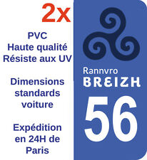 Sticker Autocollant immatriculation Adhésif Département 56 Bretagne Morbihan X2