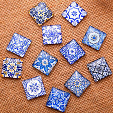 20 Pcs Glass Cabochons Cameo Porcelain Square Jewelry Making Pendant Crafts DIY