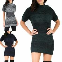 Ladies Womens High Turtle Polo Neck Marl Knitted Cap Sleeve Bodycon Jumper Dress