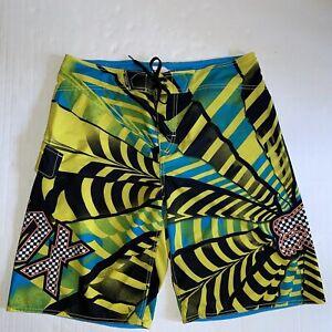 Fox Racing Men's Swim Trunks Board Shorts Yellow/black/blue  Size 36