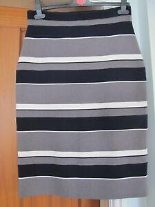 NWT Ann Taylor Straight Skirt Dark Navy Blue Grey Cream Stripe Stretch M/12