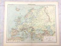 1894 Antik Landkarte von Europa Physikalisch Geography Alt Original 19th Century