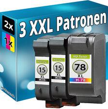 3 TINTE PATRONEN für HP15+78 DeskJet 916c 920c 940c 3820 3822 3816 PSC900 950