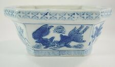 Blue & White Chinese Planter, Cache Pot, Flower Vase, Octagon Shape Koi Fish