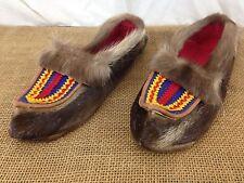 NEW Handmade Native American Deerskin Fur Mens sz 8-10 Slip On Slipper Moccasins