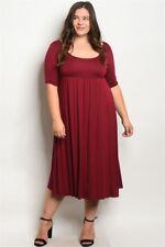 Womens Plus Size Burgundy Jersey Knit Maxi Dress 2XL