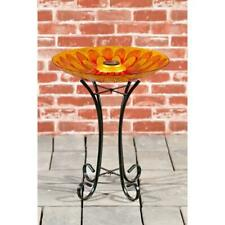 Bird Bath Solar Sunflower Design Glass With Stand - Home / Garden New Adorable