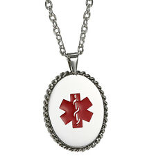 Men's Womens Oval Medical Alert ID Dog Tag Necklace Pendant Chain Free Engraving
