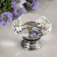 30mm Clear Crystal Diamond Glass Pull Handle Door Knob Drawer Cupboard Cabinet