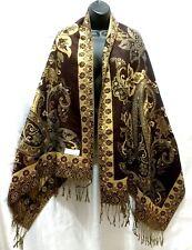 Brown Gold Pashmina Fashion Scarf Shawl Wrap Long New Tassel Flower Floral
