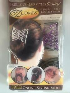 EZ Combs Stretchable Double Combs Hair Style Purple and Black Combo Pack Set UK