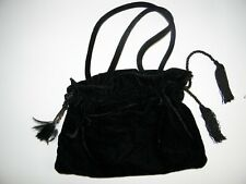 Fancy Women Velvet Feather and Double Tassel Evening Bag Black Inside Zip Pocket