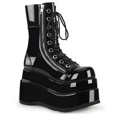 DEMONIA Bear-265 Black Patent Tiered Platform Lace-Up Front Mid-Calf Boot