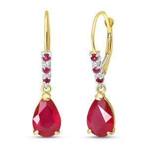 Natural Red Ruby Gemstones & Diamonds Dangles Leverback Earrings 14K. Solid Gold