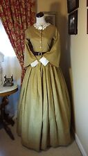 Civil War Reenactment Day Dress Size 10 Yellow Gold Floral with Pagoda Sleeves