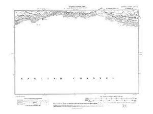 Old map Downderry, Keveral Beach, Bodigga 1907 - Cornwall, repro 53-NE
