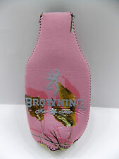 PINK CAMO BROWNING BOTTLE HOLDER/KOOZIE WITH BUCK-MARK LOGO ON BOTH SIDES - NEW