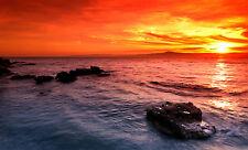 Australia sunset ocean seascape red orange landscape print modern photo art