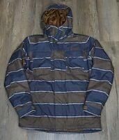 Mens Burton Dry Ride Snowboard Ski Jacket Small S Hoodie Pockets Stripe Zip Coat