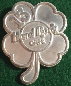"""13th Year Hard Rock Cafe STAFF Sterling Silver PIN Lucky 4 Leaf Clover with """"13"""""""