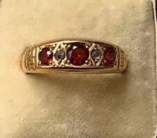 ANTIQUE VICTORIAN 18K GOLD GARNET AND ROSE CUT DIAMOND RING