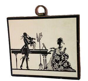 Vintage Silhouette Concerto Violin Piano Picture Art Plaque Victorian Decor Wood