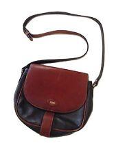 Vintage Bally Leather Saddle Bag Shoulder Tote w/ Adjustable Strap Brown & Navy