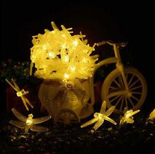 LED Christmas Xmas Party Dragonfly Solar Powered Lighting Lamp String Light Hot
