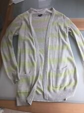 b08522de2f318 THEORY Women s Light Knit Long Cardigan Light Grey and Neon Green Size M