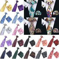 Men's Woven Silk Hand Made Tie Cufflinks and Handkerchief Gift Set Wedding Party