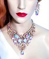 Breastshield Bib Necklace Earring Set Rhinestone Crystal AB