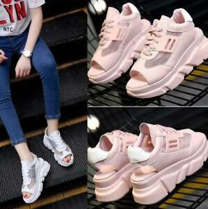 Women Platform Wedge Sandals Sports Sneakers Shoes Lace Up Peep Toe  Heel Summer