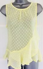 NEW - NEW LOOK 14 yellow spot frill sheer chiffon longline sleeveless tunic top