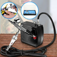 Dual Action Airbrush Compressor Kit Spray Air Brush Set Tattoo Nail Art