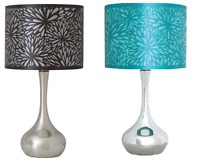 """Bedside Chrome Table Lamp with 11"""" Stencil Shade Lighting Living Room Bedroom"""