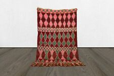 Moroccan azilal berber vintage rug, 7x4 tribal Handmade wool worn boho rug