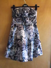 QED London Strapless Satin Layered Short 'Roses' Dress UK 8 Black/Grey BNWT