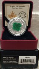 Lucky Four Leaf Clover $20 2016 1OZ Pure Silver Proof Coin Canada Shamrock-Green