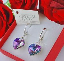 925 Sterling Silver Earrings Crystals From Swarovski® Heart Vitrail Light 14mm