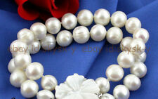 """2 Strands 8"""" 11-12mm Round White Pearl Dangle Bracelet Shell Clasp"""