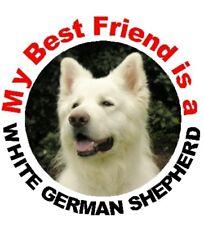 2 White German Shepherd Dog Car Stickers By Starprint